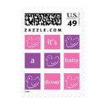 KRW Pink and Purple Blocks Baby Shower Postage Stamps