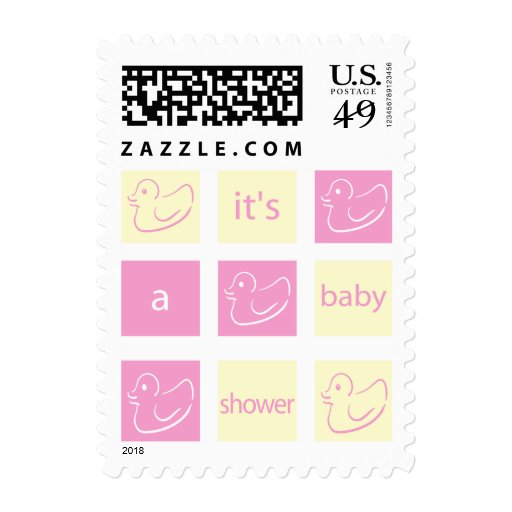 krw pink and yellow blocks baby shower stamps zazzle