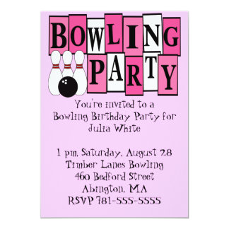 KRW Pink Bowling Birthday Party Card