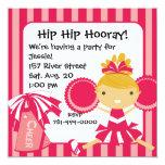 KRW Pink Cheerleader 2 Sided Birthday Invitation