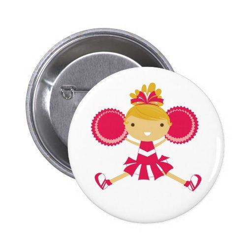 KRW Pink Cheerleader Birthday Party Button