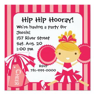 "KRW Pink Cheerleader Birthday Party Invitation 5.25"" Square Invitation Card"
