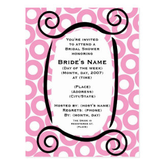 KRW Pink Circle Custom Shower Invitation Postcard