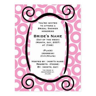 KRW Pink Circle Custom Shower Invitation Post Cards