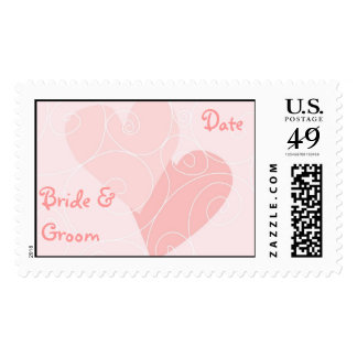 KRW Pink Hearts Custom Wedding Stamp