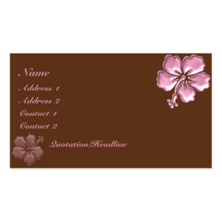 KRW Pink Hibiscus and Chocolate Elegant Business Cards