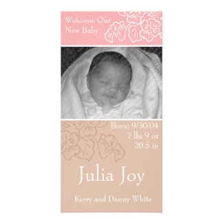 KRW Pink Leaf Custom Photo Birth Announcement