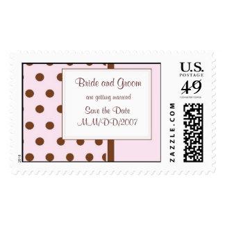 KRW Pink Polka Dot Custom Wedding Stamp