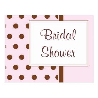 KRW Pink Polka Dots Custom Shower Invitation Post Cards