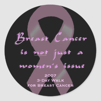 KRW Pink Ribbon 3-Day Walk Men Classic Round Sticker