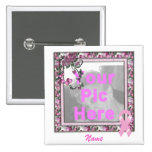 KRW Pink Ribbon Custom Pic Frame 2 Inch Square Button