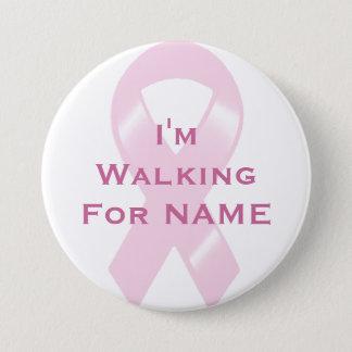 KRW Pink Ribbon Custom Walking Pinback Button