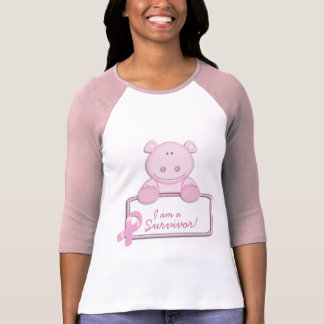 KRW Pink Ribbon Hippo - Survivor T-Shirt