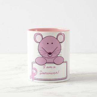 KRW Pink Ribbon Mouse - Survivor Two-Tone Coffee Mug