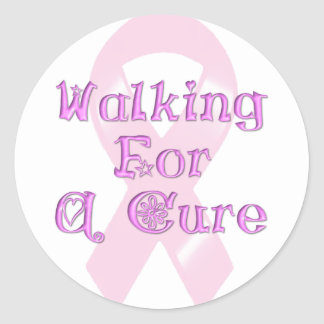 KRW Pink Ribbon Walking for a Cure Round Stickers