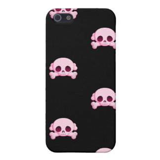 KRW Pink Skull and Crossbones i iPhone 5/5S Case