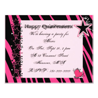 KRW Pink Zebra Print Hearts Stars Quinceanera Invitations