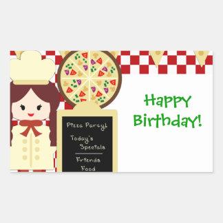 KRW Pizza Happy Birthday Party Girl Sticker