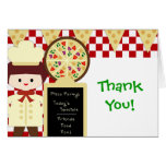 KRW Pizza Party Thank You Boy Greeting Cards