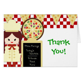 KRW Pizza Party Thank You Girl Stationery Note Card