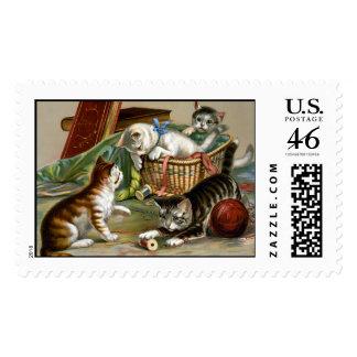 KRW Playful Kittens Vintage Illustration Stamp