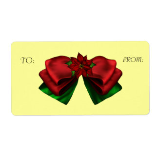 KRW Pointsettia Bow To and From Holiday Gift Label