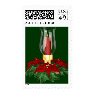 KRW Pointsettia Candle Holiday Stamp