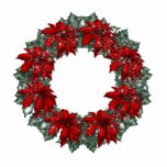 KRW Pointsettia Holiday Wreath Ornament Photo Sculpture