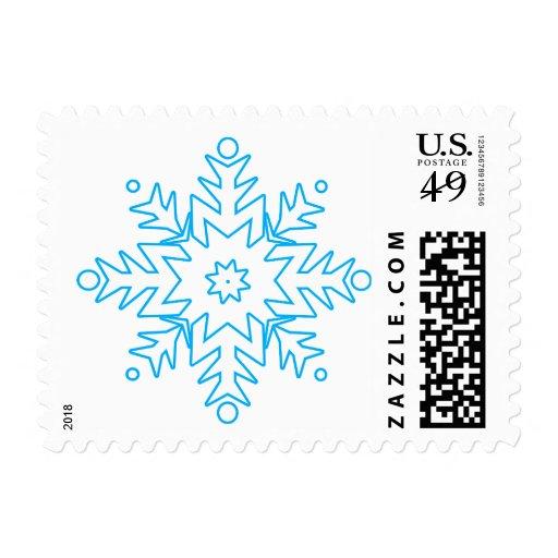 KRW Pretty Blue Snowflake Holiday Postage Stamp