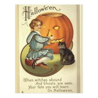KRW Pumpkin Carving Vintage Halloween Postcard