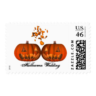 KRW Pumpkin Love Halloween Wedding Postage Stamps