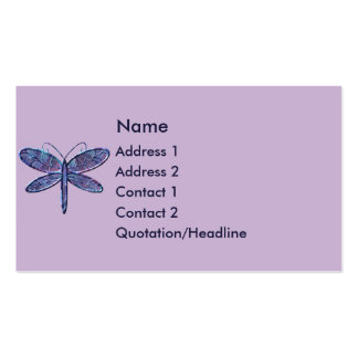 KRW Purple and Navy Blue Dragonfly Business Card