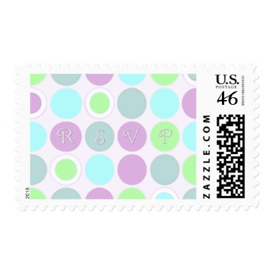 KRW Purple Blue and Green Dots RSVP Wedding Postage by KRWWedding
