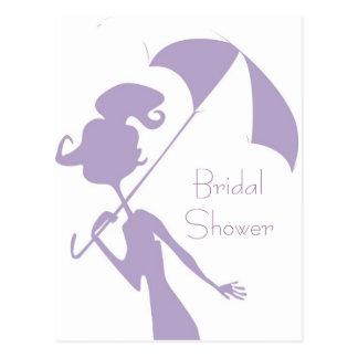 KRW Purple Bridal Shower Custom Invitation Postcard