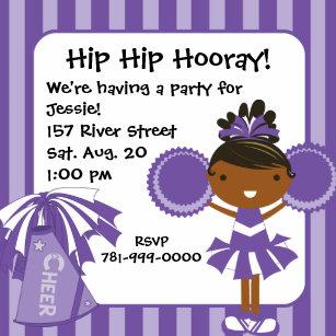 KRW Purple Cheerleader 2 Sided Birthday Invitation