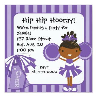 "KRW Purple Cheerleader Birthday Party Invitation 5.25"" Square Invitation Card"