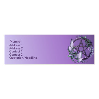 KRW Purple Floral Wiccan Pentagram Custom Card Double-Sided Mini Business Cards (Pack Of 20)