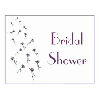 KRW Purple Flowers Custom Bridal Shower Invitation Post Cards