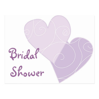 KRW Purple Hearts Bridal Shower Custom Invitation Postcard