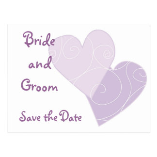 KRW Purple Hearts Custom Save the Date Card Postcards