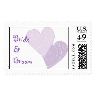 KRW Purple Hearts Custom Wedding Stamp