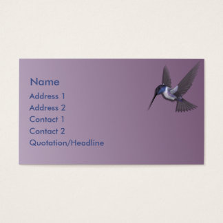 KRW Purple Hummingbird Custom Business Card