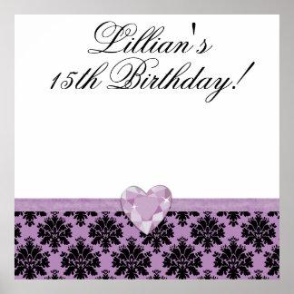 KRW Purple Jewel Heart Birthday Autograph Poster