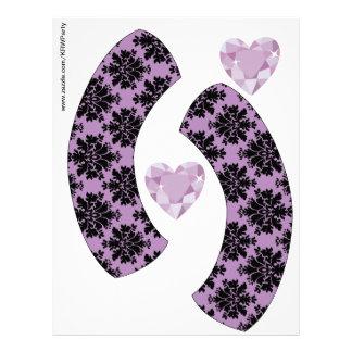 KRW Purple Jewel Heart Birthday Cupcake Wrappers