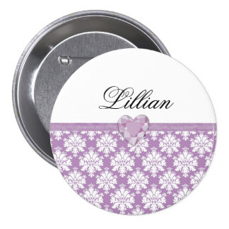 KRW Purple Jewel Heart Birthday Name Pin/Button Pinback Button
