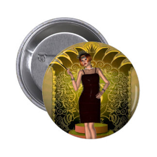 KRW Putting on the Ritz Deco Flapper II Button