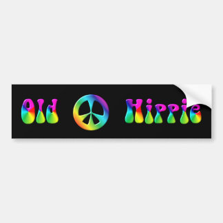 KRW Rainbow Old Hippie Peace Sign Car Bumper Sticker