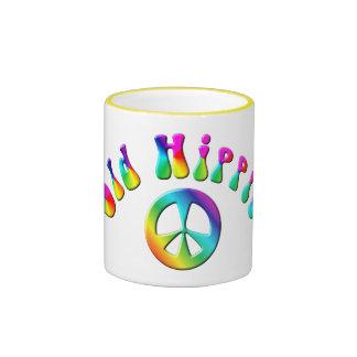 KRW Rainbow Old Hippie Peace Sign Ringer Mug