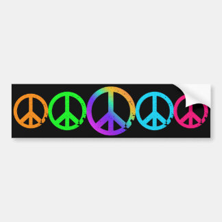 KRW Rainbow Peace Signs Car Bumper Sticker