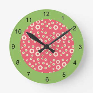 KRW Raspberry Lime Floral Clock